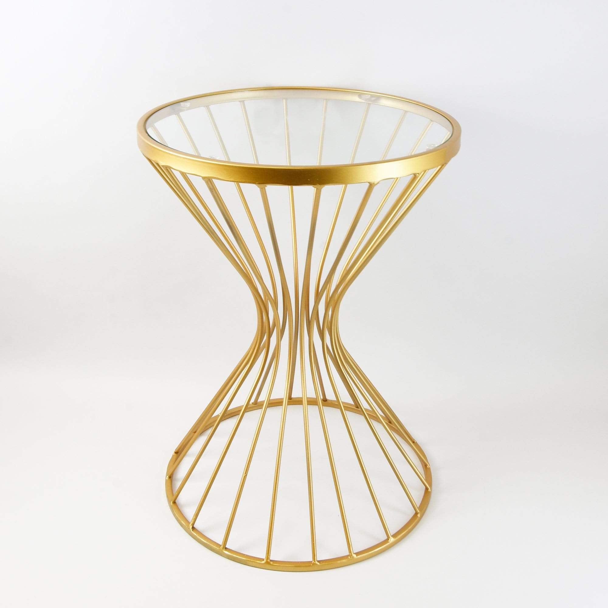 Small Metal Hourglass Table with Glass Top - Gold