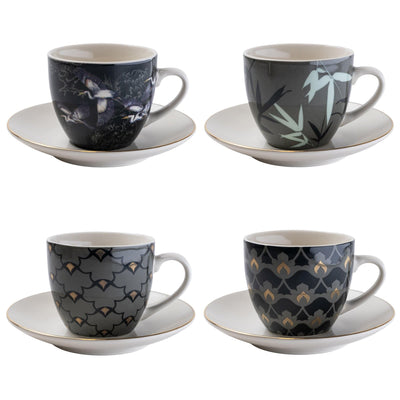 Candlelight Home Tea Cups Set of 4 Tea Cups and Saucers in Oriental Heron Design with Gold Rim in Gift Box 4PK