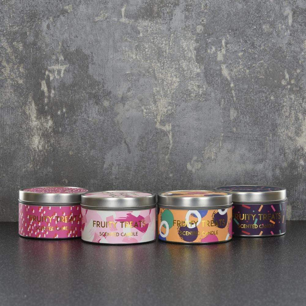 Candlelight Celebration Assorted Large Tin Candles Fruity Treats Scent 130g 16PK