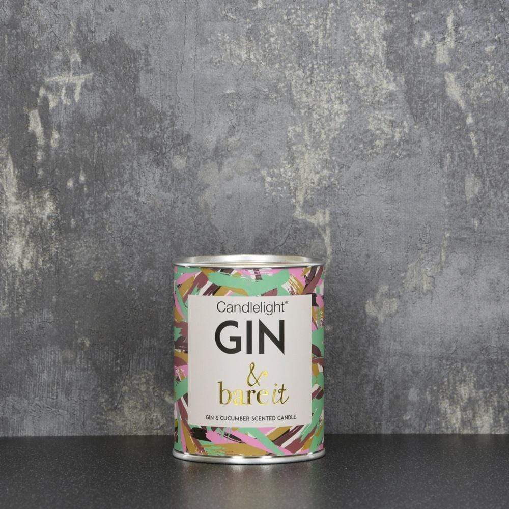 Candlelight Gin & bare it Large Tin Candle with Ring Pull top Gin and Cucumber Scent 150g 6PK