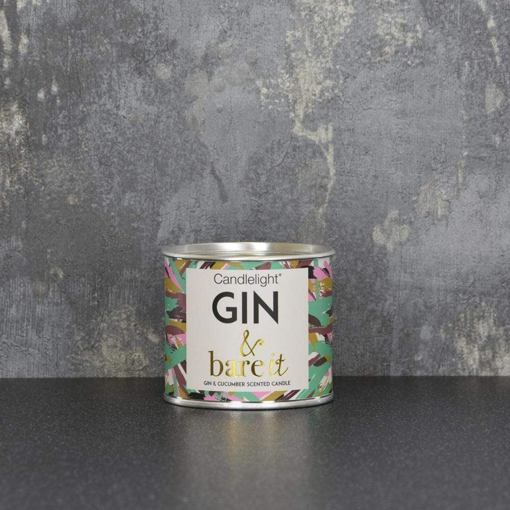 Candlelight Home Tin Candle Candlelight Gin & bare it Small Tin Candle with Ring Pull top Gin and Cucumber Scent 100g 6PK
