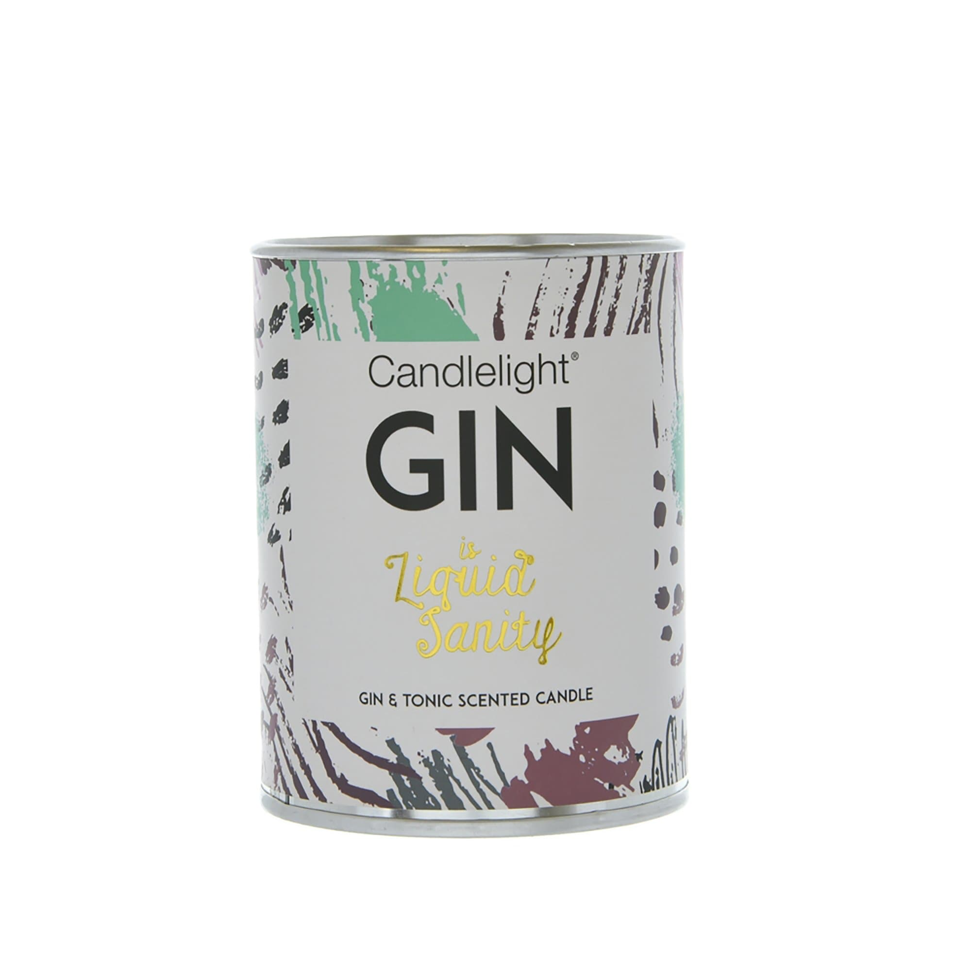 Candlelight Gin is Liquid Sanity Large Tin Candle with Ring Pull top Gin and Tonic Scent 150g 6PK