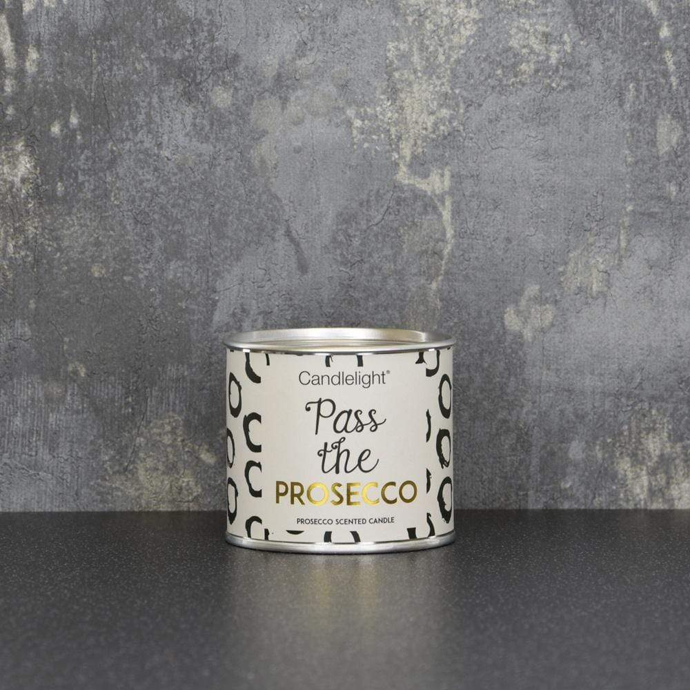 Candlelight Pass the Prosecco Small Tin Candle with Ring Pull top Prosecco Scent 100g 6PK