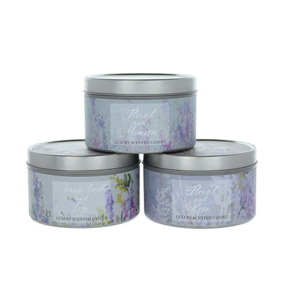 Candlelight Home Tin Candle Summer Meadows Assorted Wax Filled Tin Candles Floral 5cm 12PK