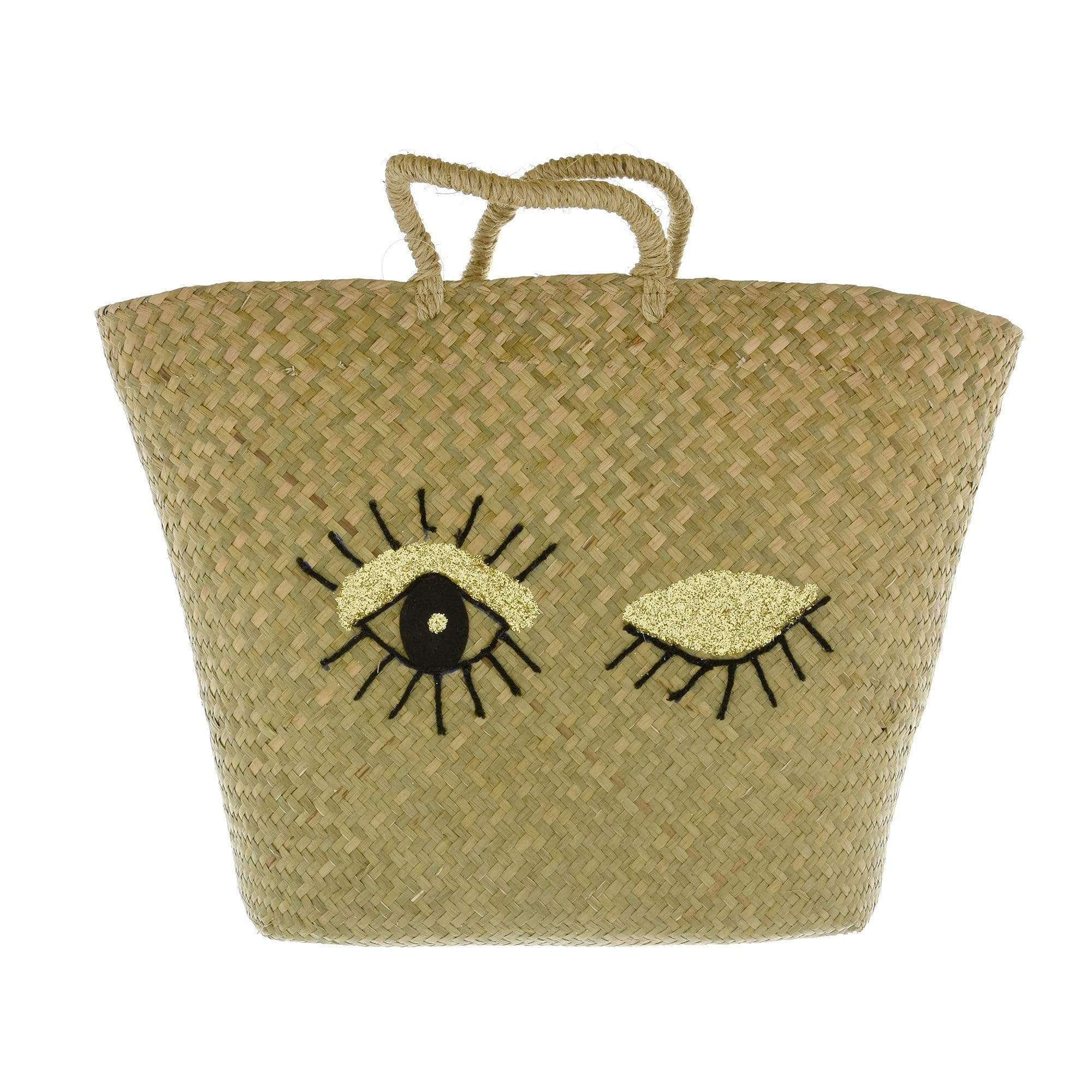 Eyelash Tote Bag Black and Gold 58cm 1PK
