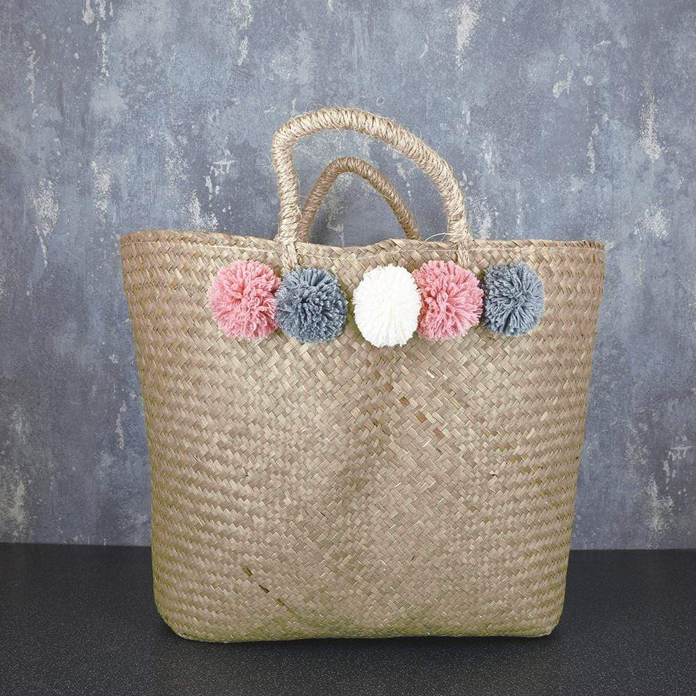 Tote Bag with Pom Poms Woven 58cm 1PK