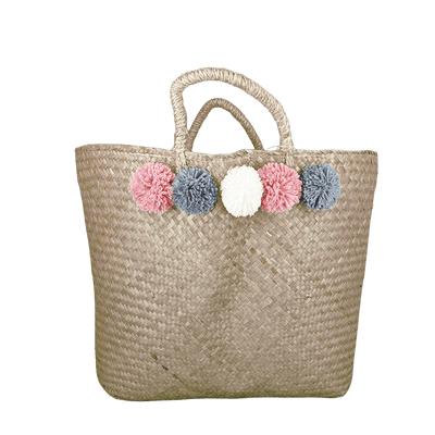 Candlelight Home Tote Bags Tote Bag with Pom Poms Woven 58cm 1PK