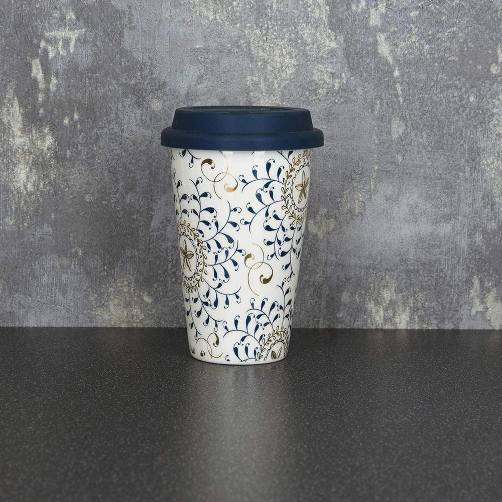Candlelight Home Travel Mugs Bohemian Travel Mug Blue and Gold 15cm 6PK