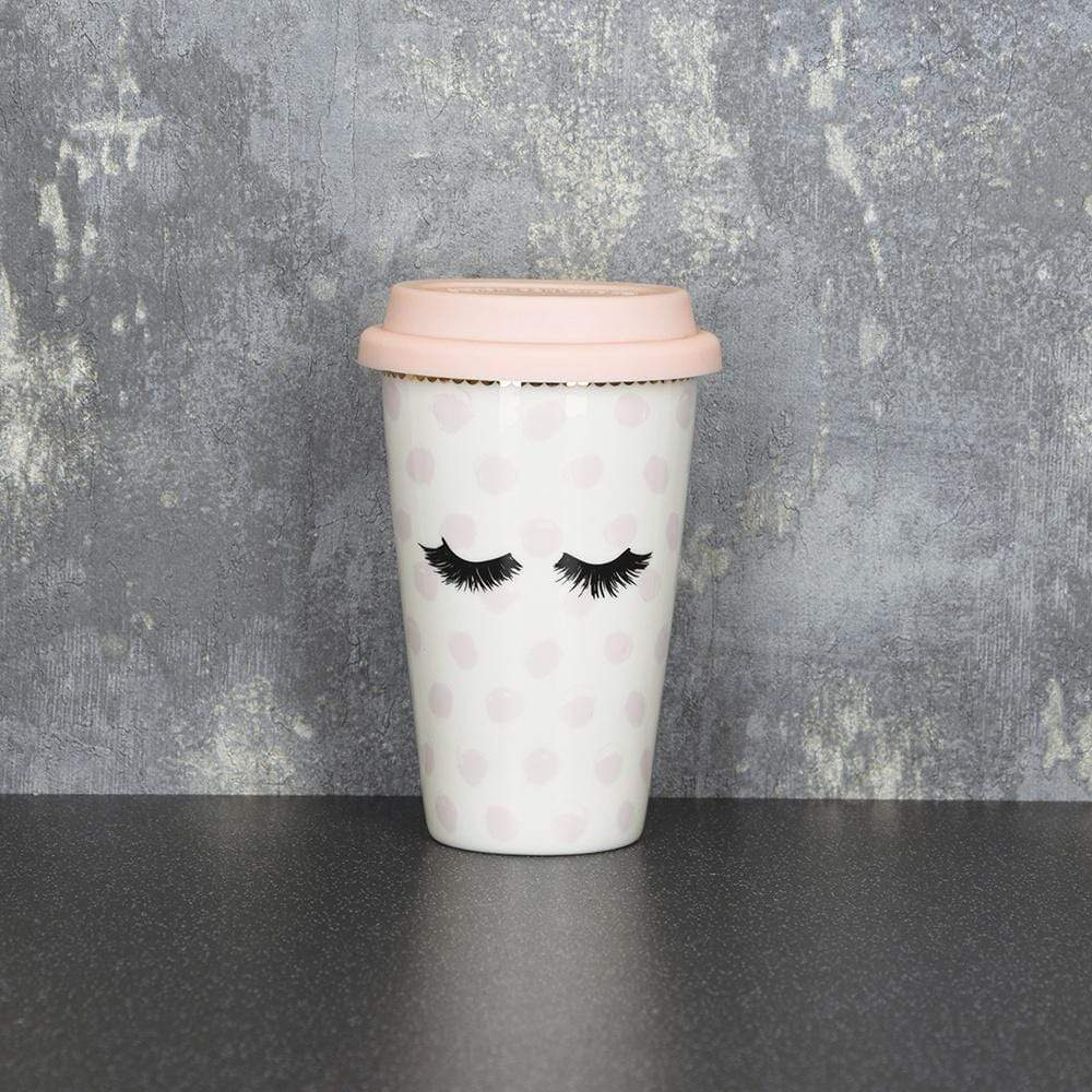 Eyelash Travel Mug Pink 15cm 6PK