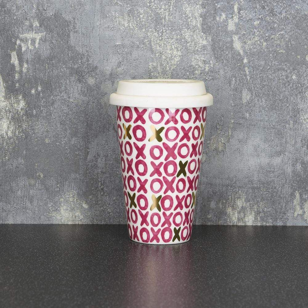 Candlelight Home Travel Mugs Hugs & Kisses Travel Mug Pink and Gold 15cm 6PK