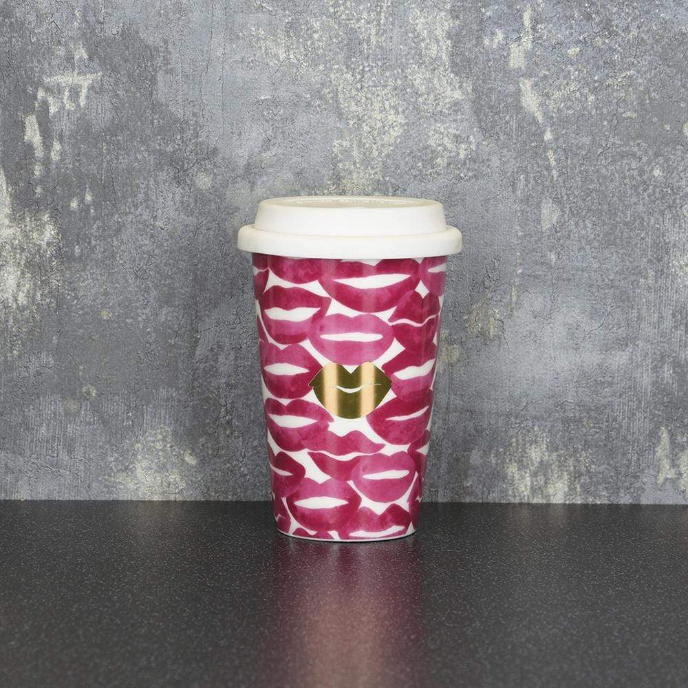 Candlelight Home Travel Mugs Lips Travel Mug Pink and Gold 15cm 6PK