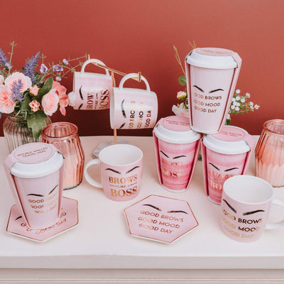 Candlelight Home Travel Mugs New Bone China Double Walled Travel Mug Brows Like a Boss With Silicone Lid And Card Wrap Pink/White 15cm 6PK