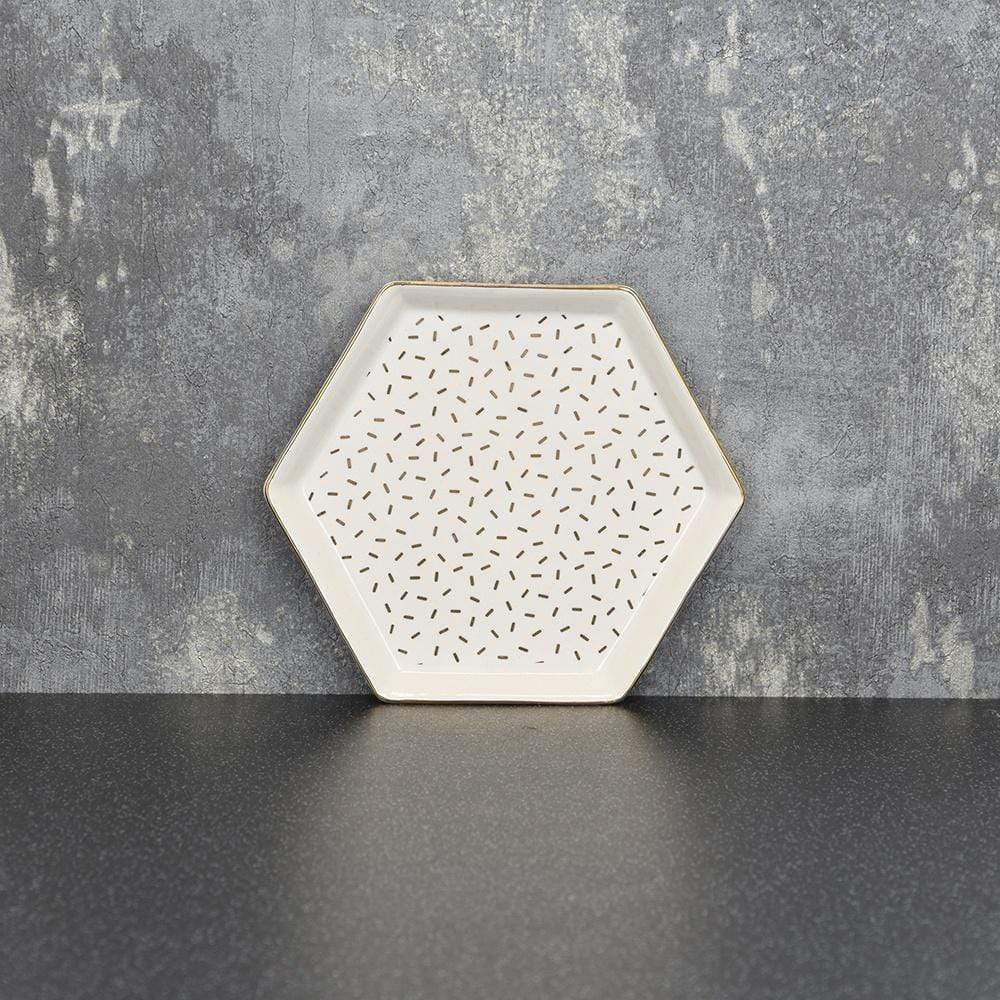 Hexagon Trinket Dish White and Gold 13cm 6PK