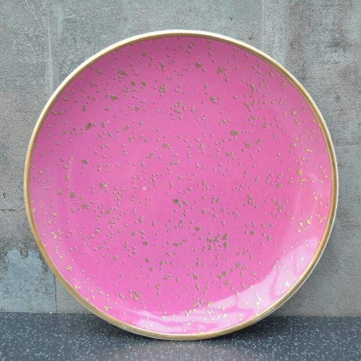 Round Trinket Dish Small Dots Pink and Rose Gold 15cm 8PK