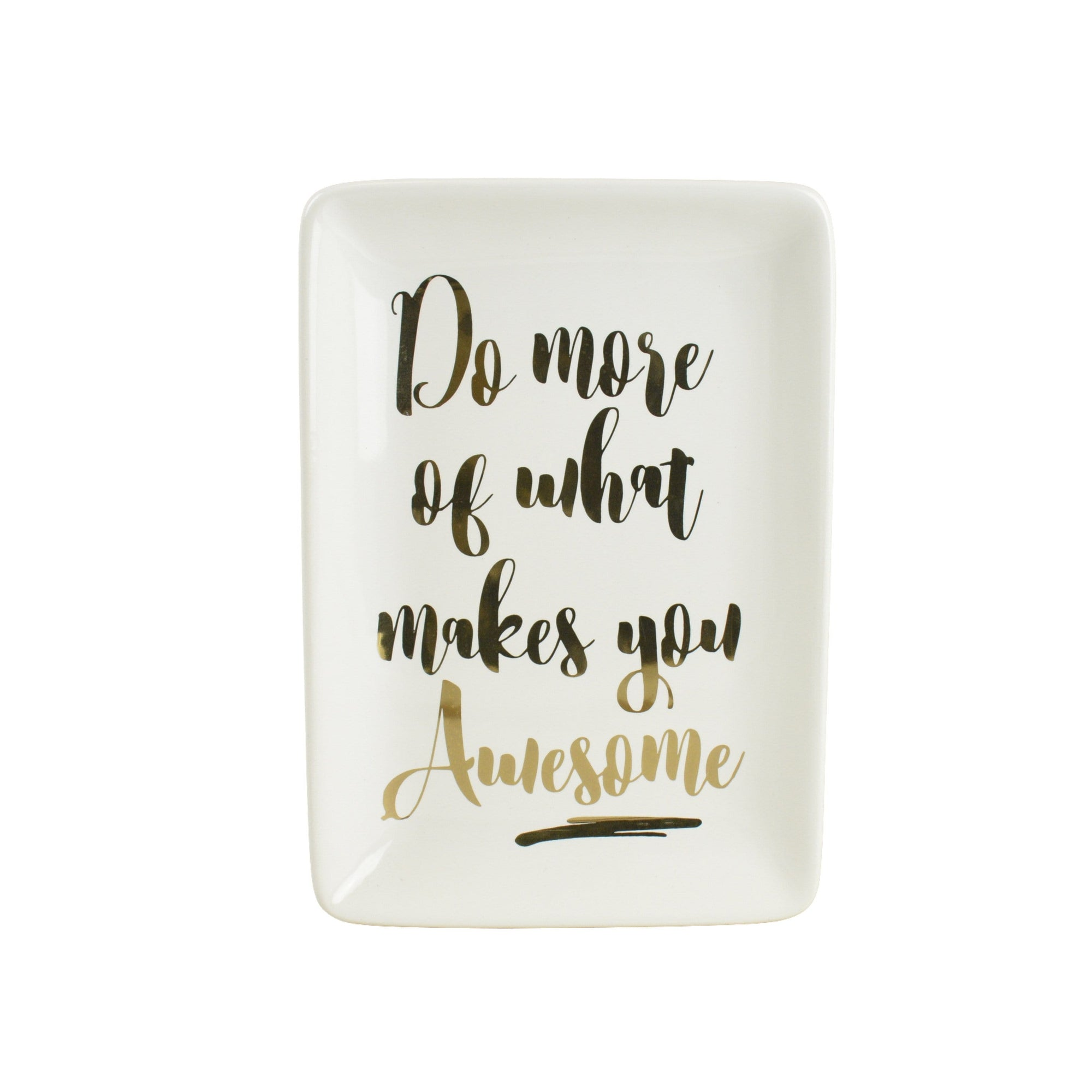 What Makes You Awesome Rectangular Trinket Dish White and Gold 18cm 6PK