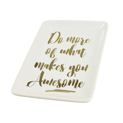 Candlelight Home Trinket Dishes What Makes You Awesome Rectangular Trinket Dish White and Gold 18cm 6PK