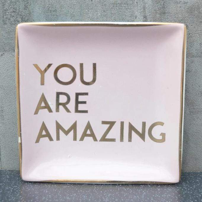 You Are Amazing Square Trinket Dish Pink and Rose Gold 12cm 12PK