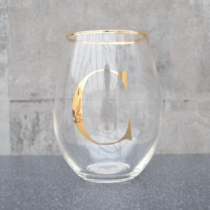 Initial Glass Tumbler C Gold Electroplated 12cm 6PK