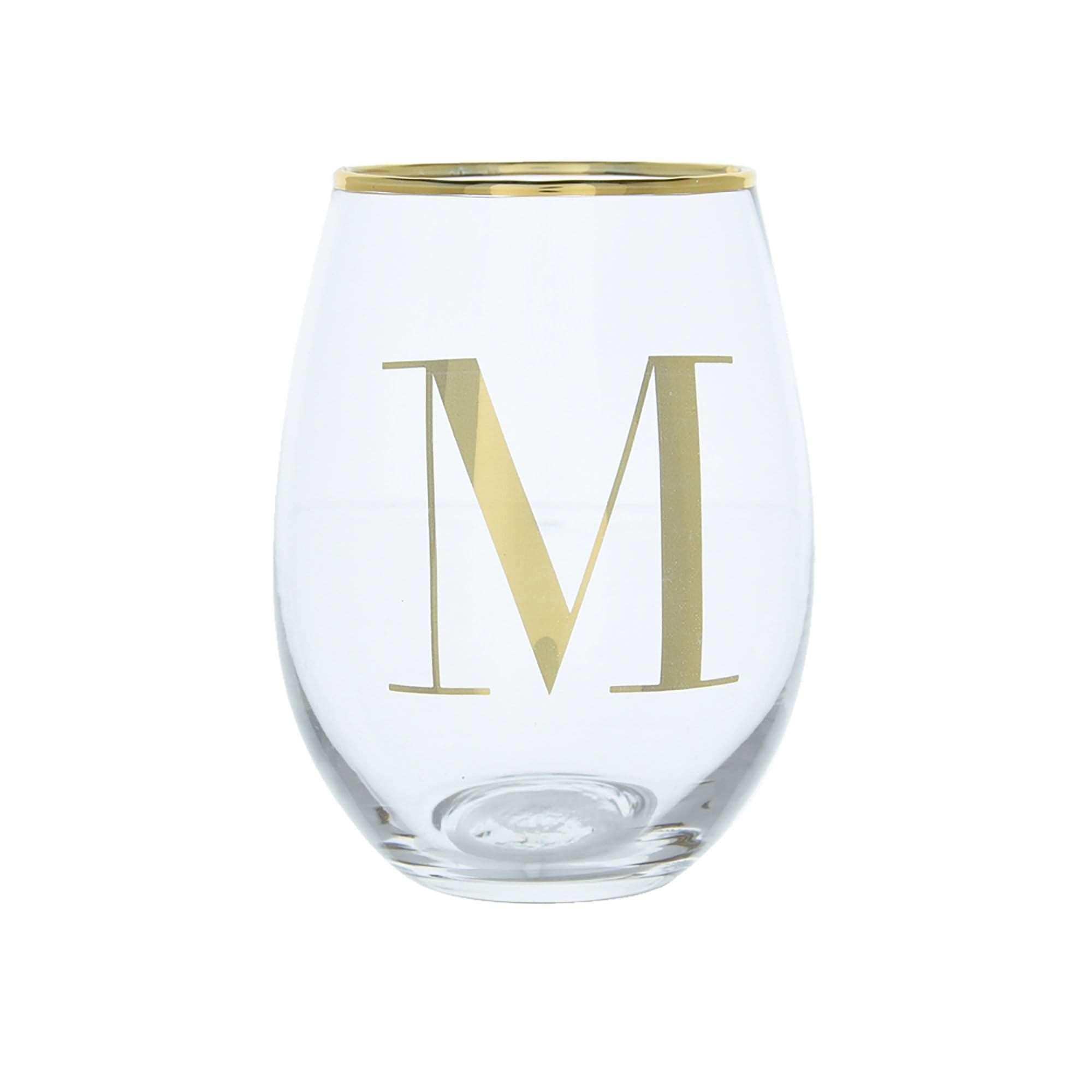 Candlelight Home Tumblers Initial Glass Tumbler M Gold Electroplated 12cm 6PK