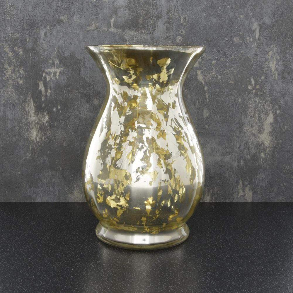 Glass Hurricane Vase Gold 21.5cm 2PK