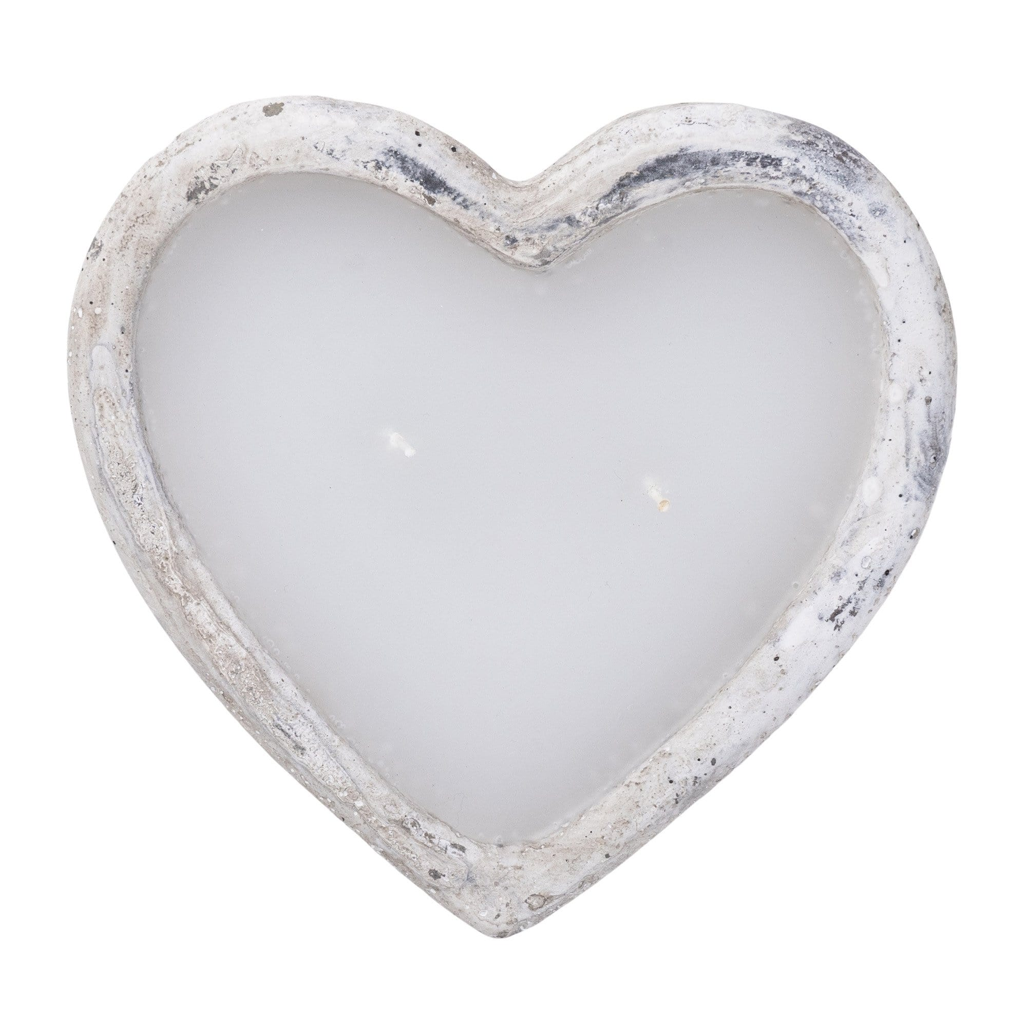 Cement Heart Shaped Wax Filled Bowl Grey/White 16.4cm 4PK