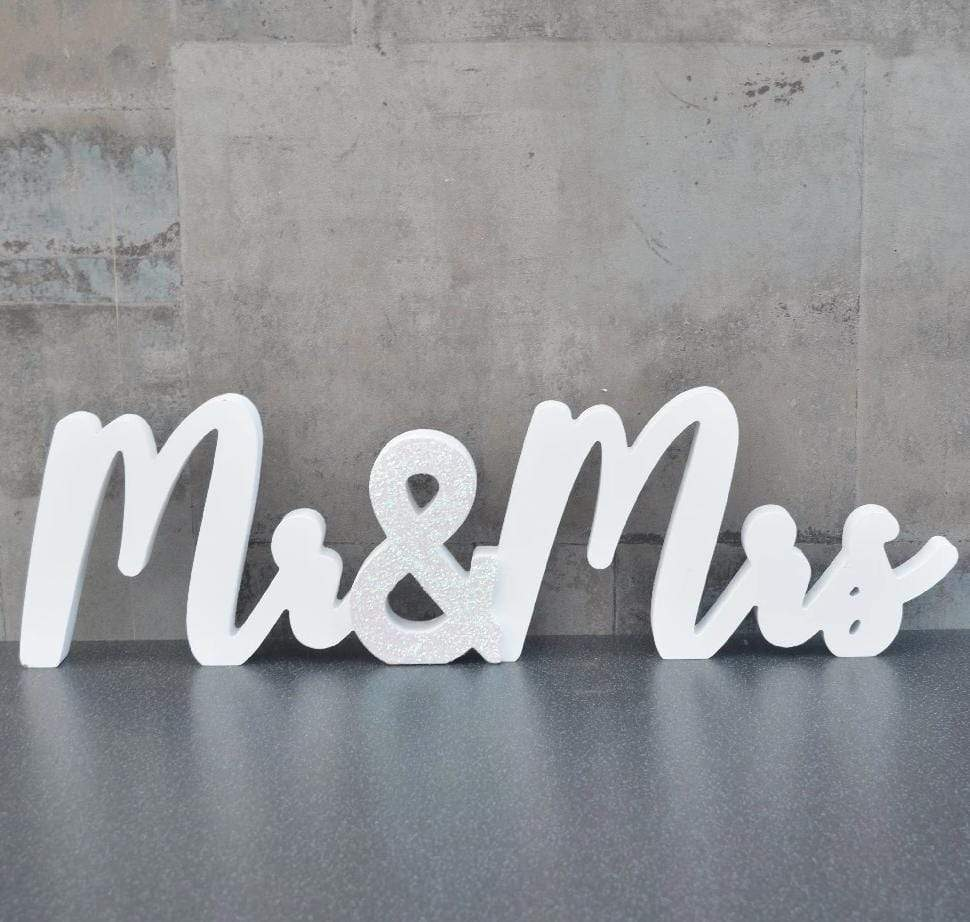 Candlelight Home Words Mr and Mrs Word Block White 56cm 4PK