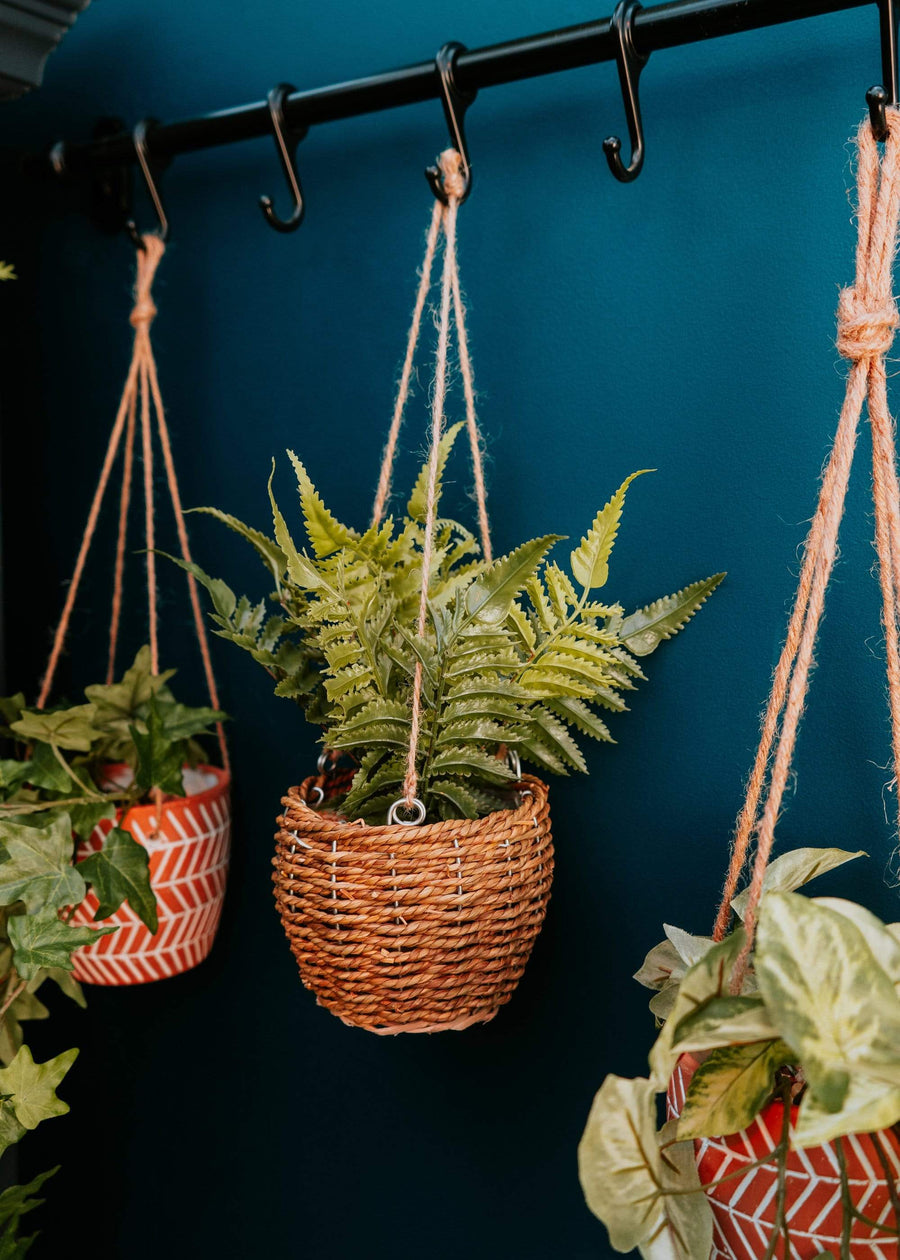 ESME Home Artificial Plants Faux hanging Herbs in Rattan Hanging Basket in Gift Box