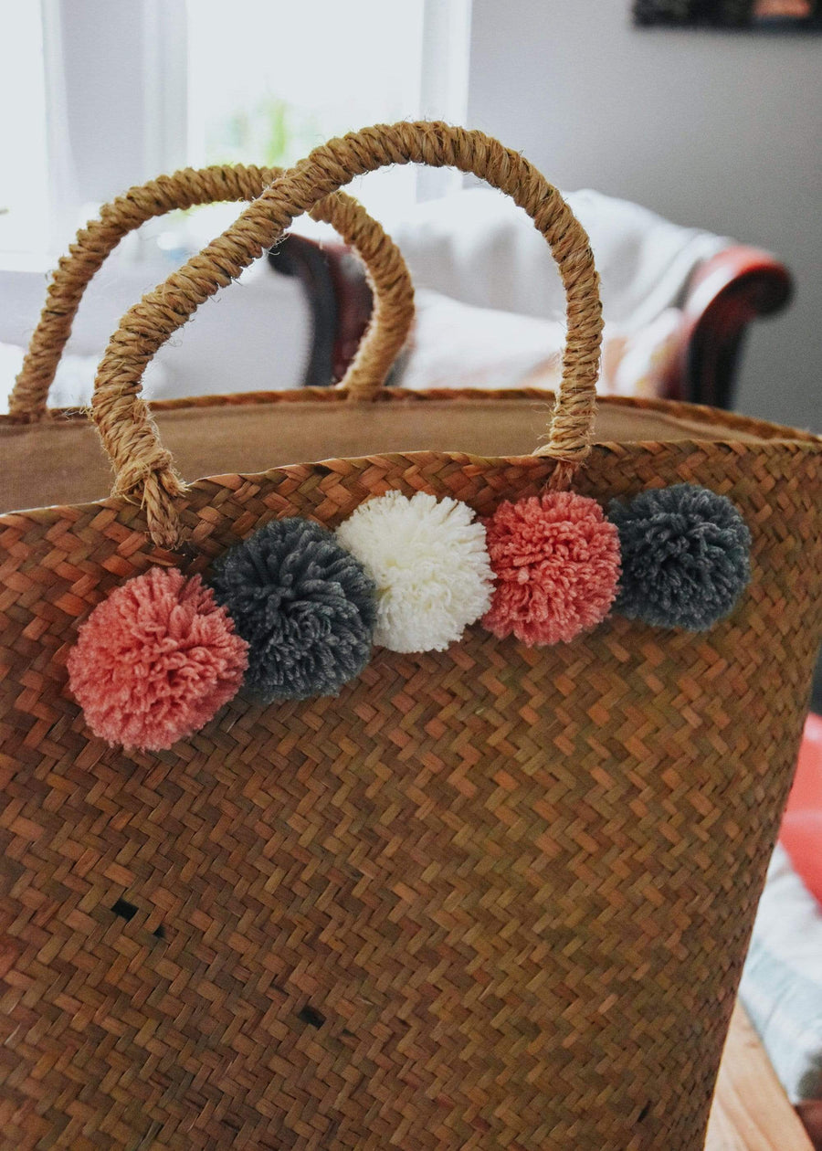 ESME Homeware Basketware Tote Bag with Pom Poms Woven
