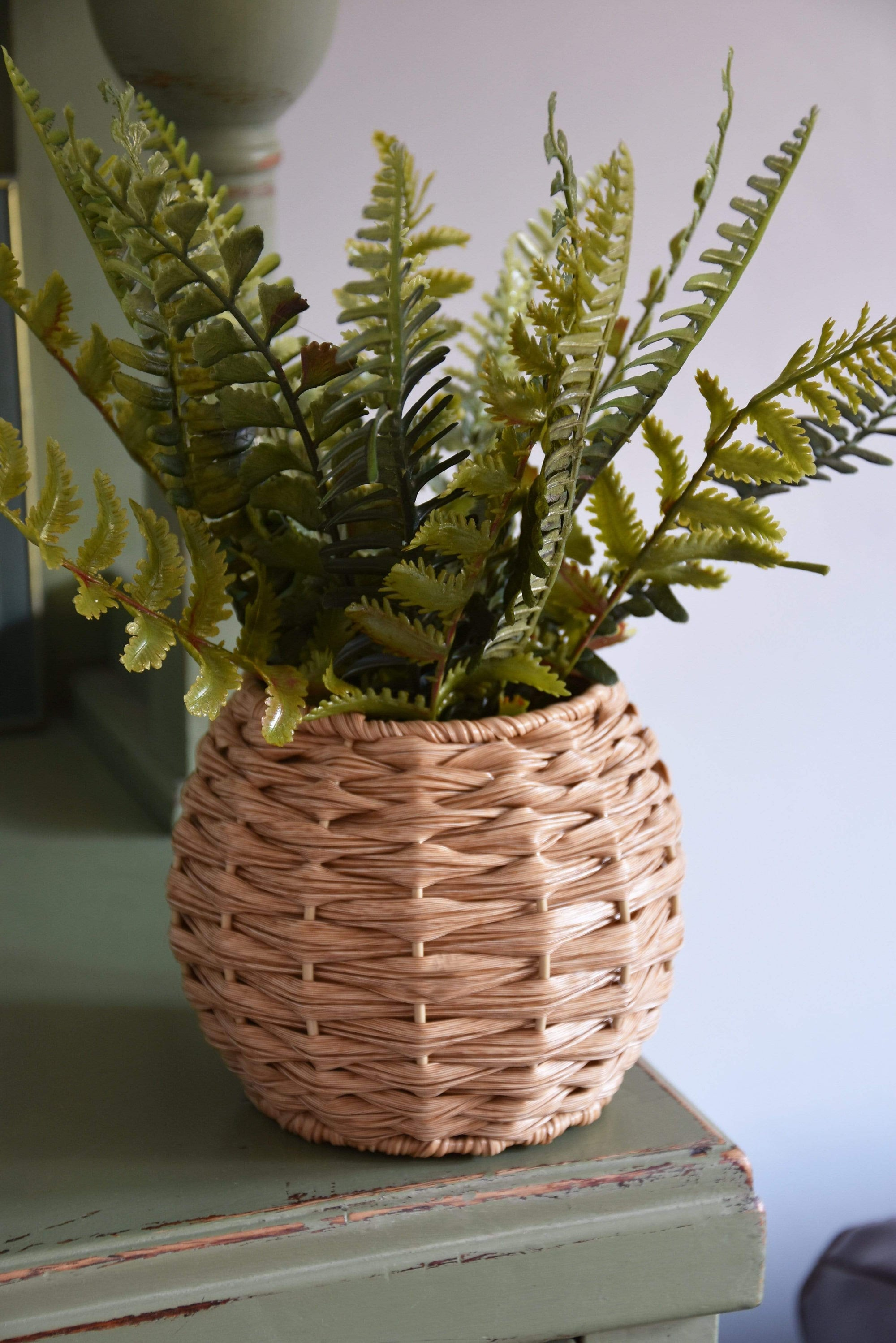 Faux Fern in Rattan basket
