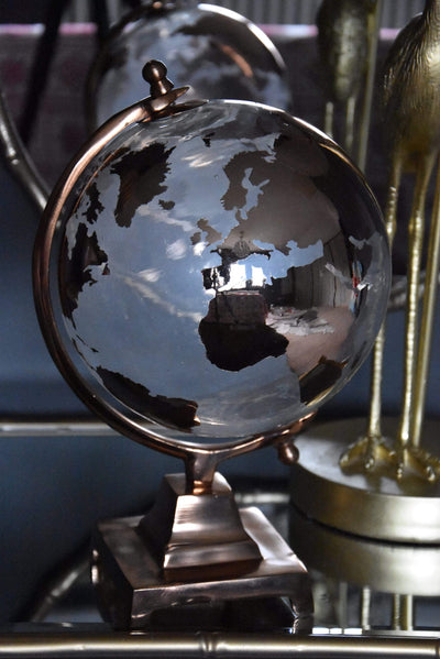 ESME Homeware Globes Large Glass Globe on Metal Stand Copper