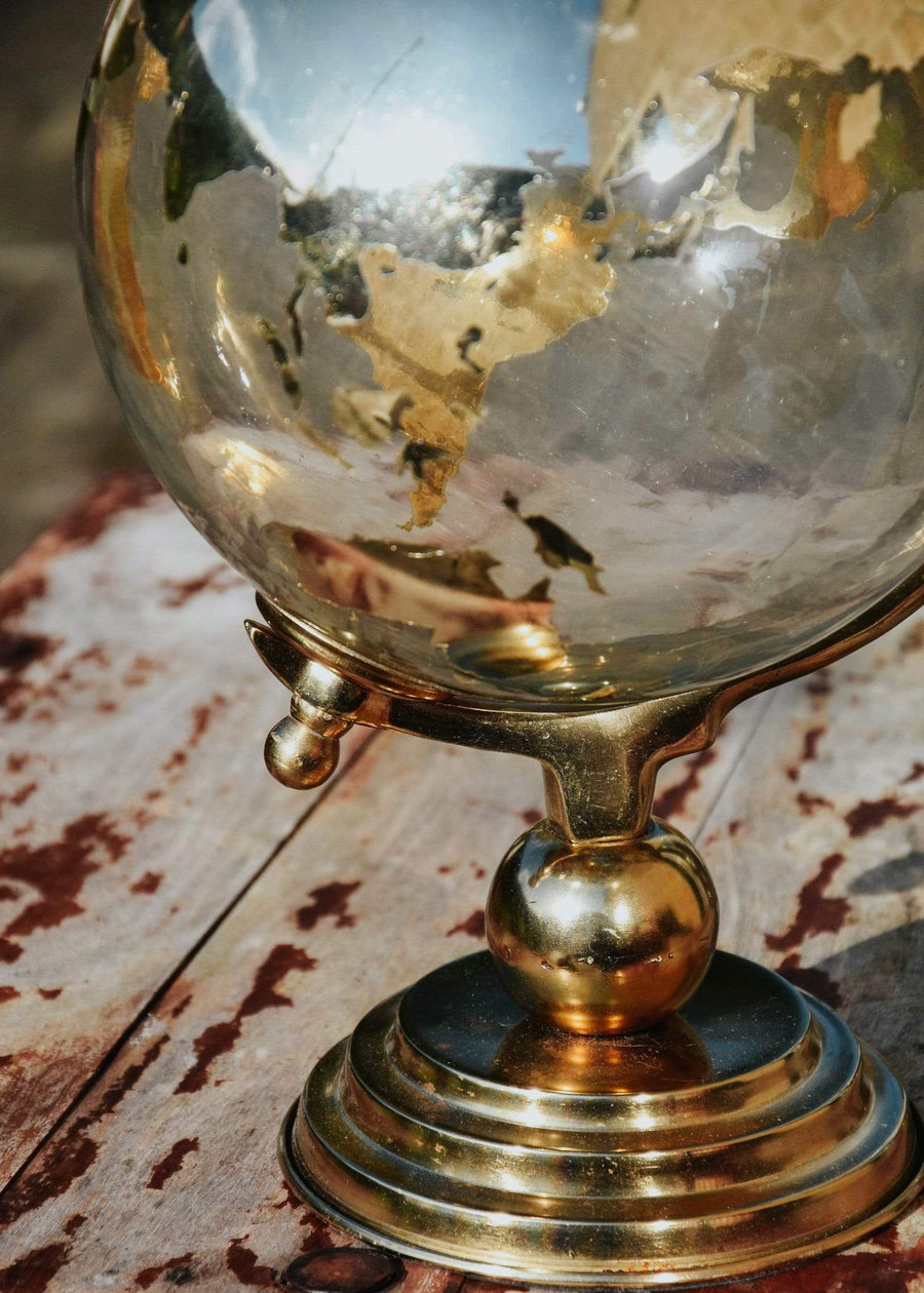 ESME Homeware Globes Large Glass Globe on Metal Stand Gold