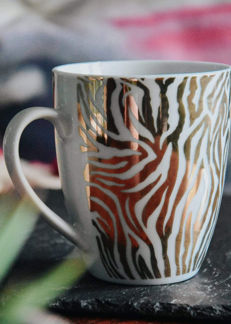 ESME Homeware Mugs Animal Luxe - Set of 2 Curved Mug - Zebra Print Gold