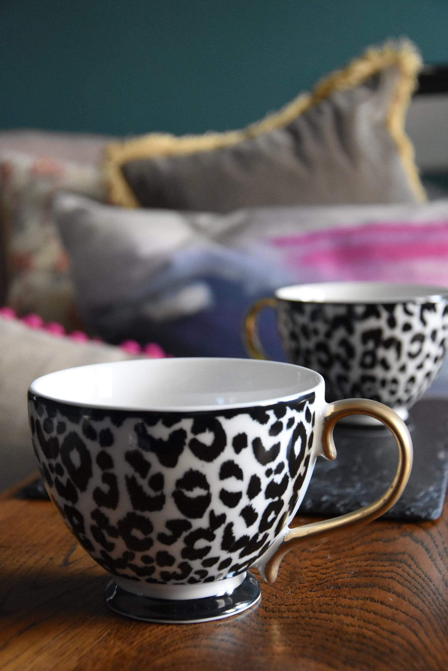 Animal Luxe - Set of 2 Footed Mug - Leopard Print Black and Gold