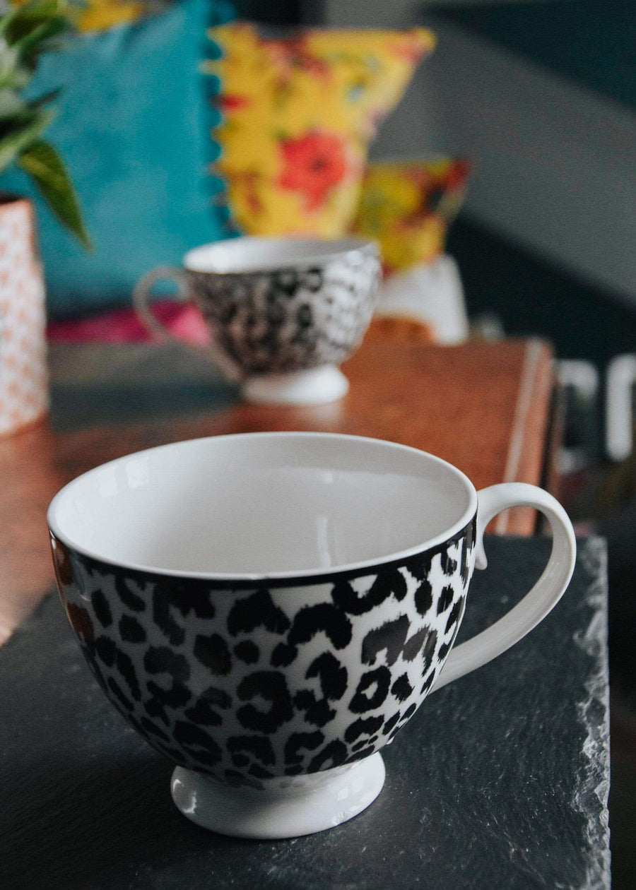 ESME Homeware Mugs Animal Luxe - Set of 2 Footed Mug - Leopard Print Black and White