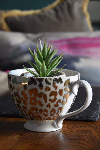 ESME Homeware Mugs Animal Luxe - Set of 2 Footed Mug - Leopard Print Gold and White