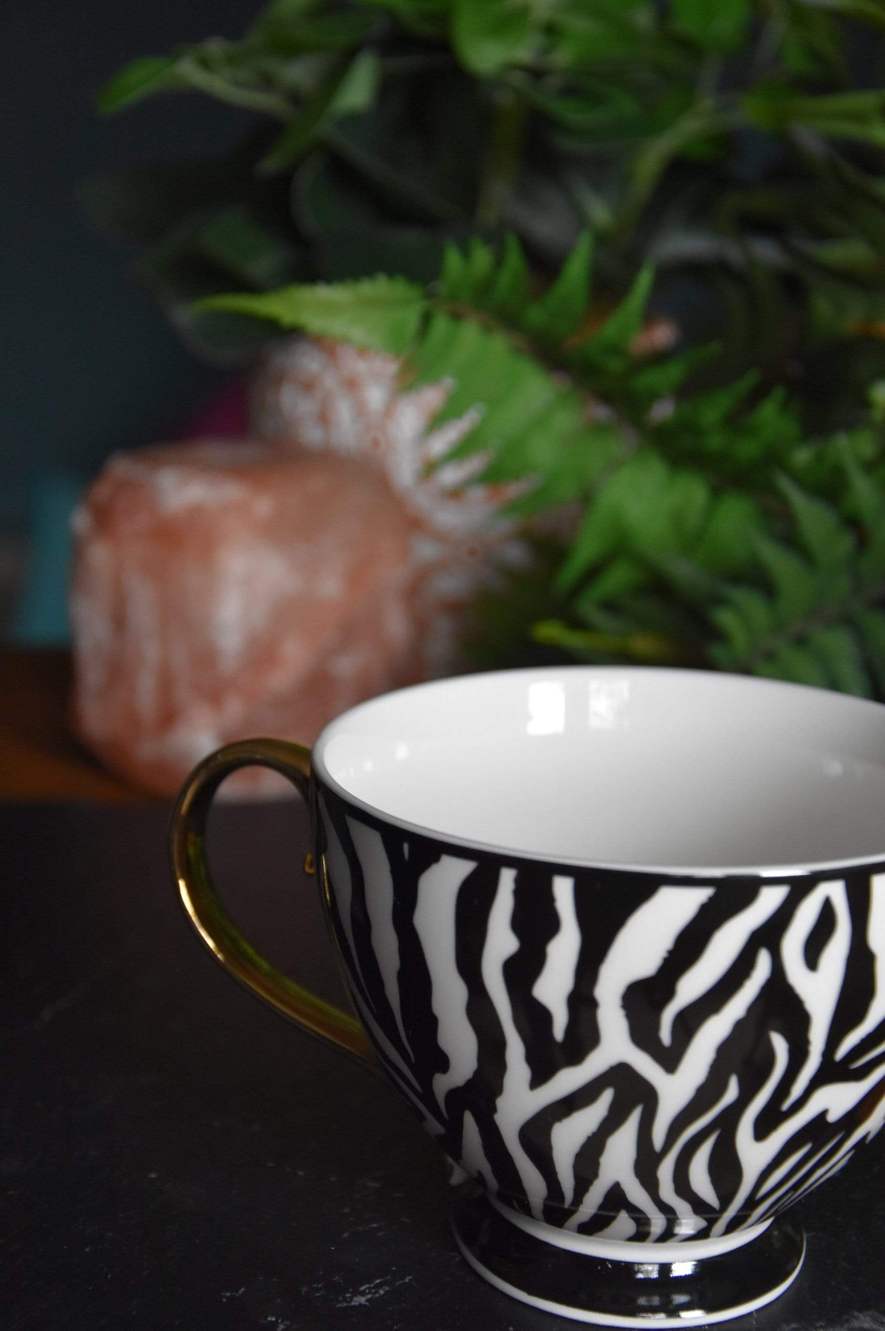 Animal Luxe - Set of 2 Footed Mug - Zebra Print Black and Gold