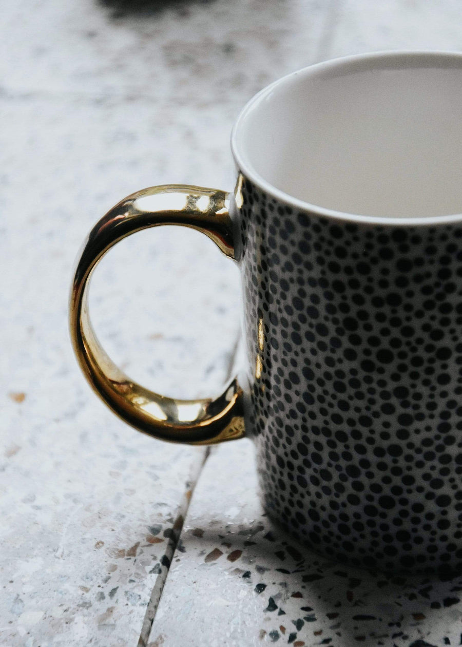 ESME Homeware Mugs Monochrome Dotty Mug Gold