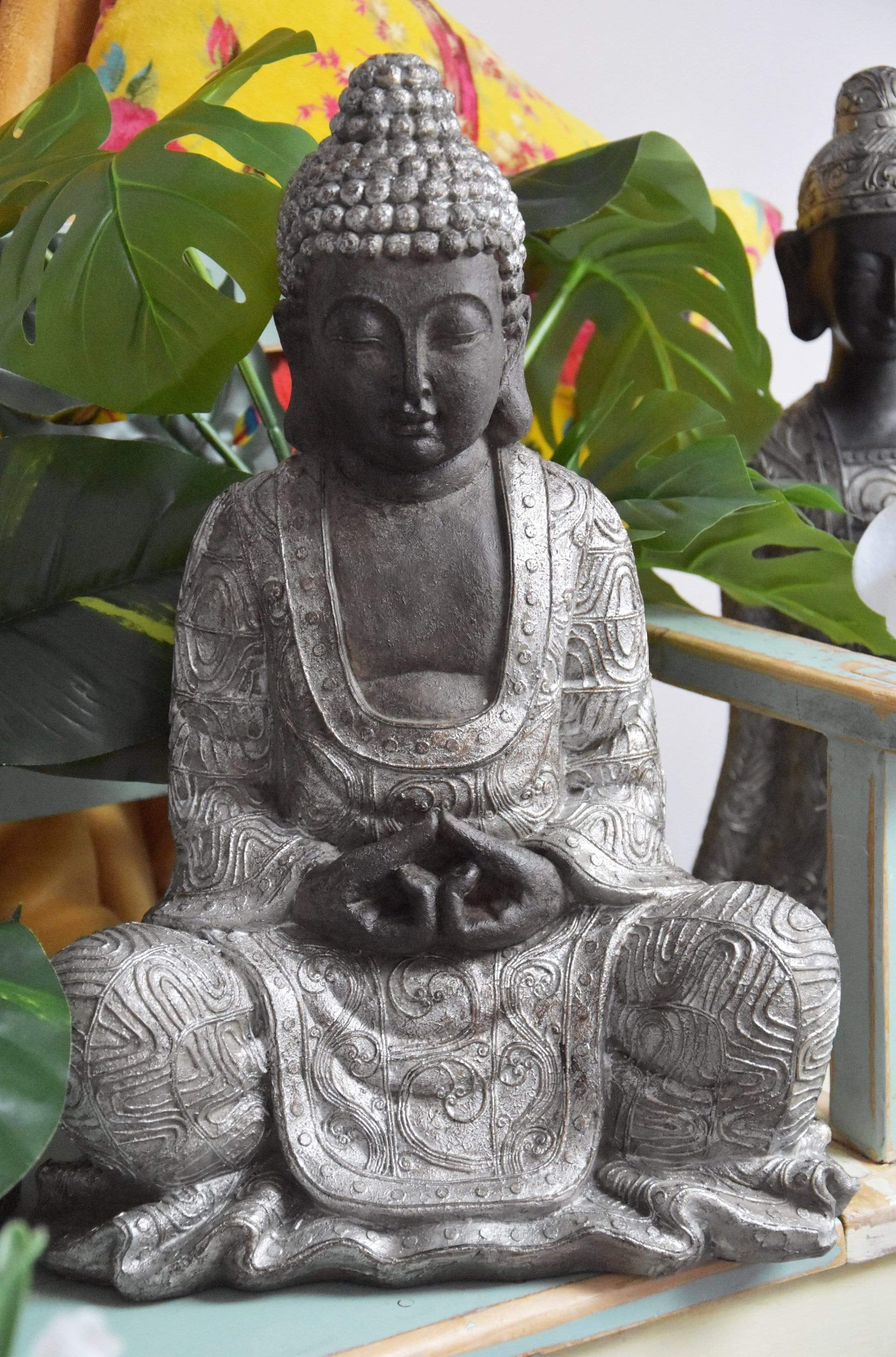 Large Sitting Buddha Ornament Black and Silver
