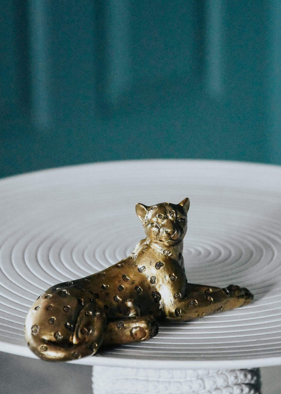 ESME Homeware Ornaments & Figurines Laying Leopard Ornament - Antique Gold