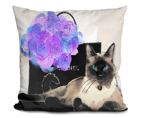 Siamese Shopping Cat Pillow