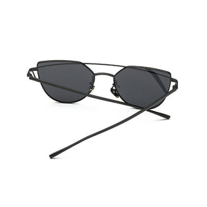 Retro Metal Frame Mirrored Sunglasses Oversized Cat Eye Glasses Eyewear
