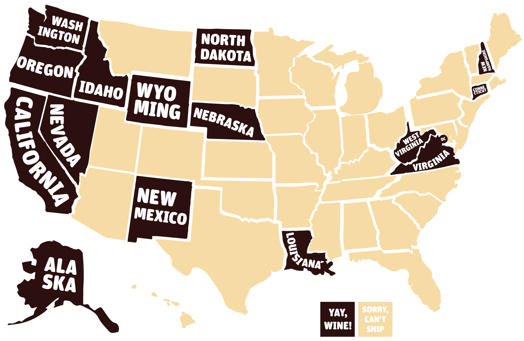 Map of States MyWinehunter Can Ship To
