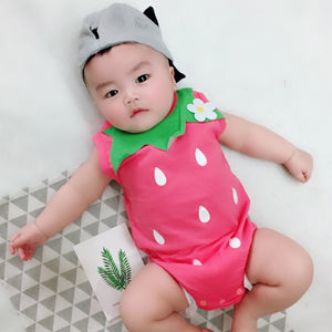 f50efa896e9 Toddler Baby Kid Gilr Romper Strawberry Floral Print Sleeveless Jumpsuit  Outfits