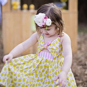 856543441 Baby Girls Infant Kids Lemon Print Strap Dresses Clothes Princess ...