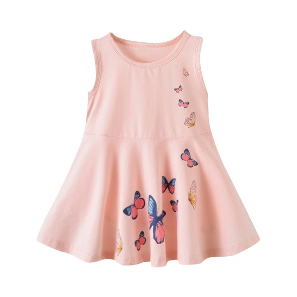 4f068c0ee9d36 Baby Girls Infant Kids Butterfly Print Dress Clothes Sundress Casual Dresses  ...