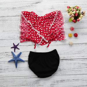 8b0155d62 Toddler Infant Baby Gilrs Backless Lace Dot Print Tops+Shorts Set Outfits