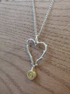 Brass 9mm Bullet Casing  with Thorned Heart