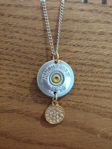 12 gauge Bullet Casing with Gold Charm