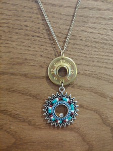 12 gauge Bullet Casing with Round Turquoise Charm