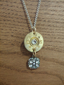 20 gauge Bullet Casing with Square Crystal Charm